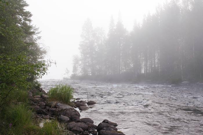 Река Кереть. Порог в тумане на рассвете